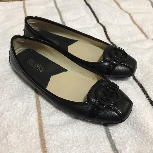 Black Leather Flats W Black Buckle